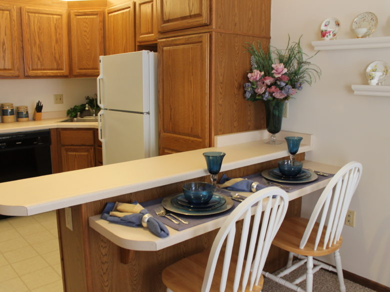 The kitchen in the indepedent living studio at VMP milwaukee.