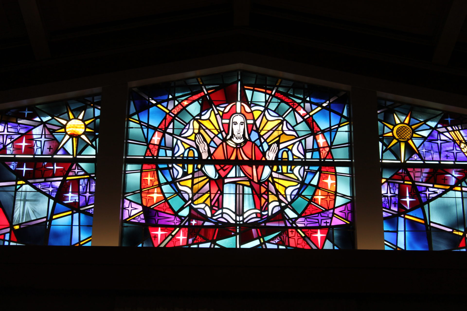 The colored glass windows inside VMP Milwaukee's church.