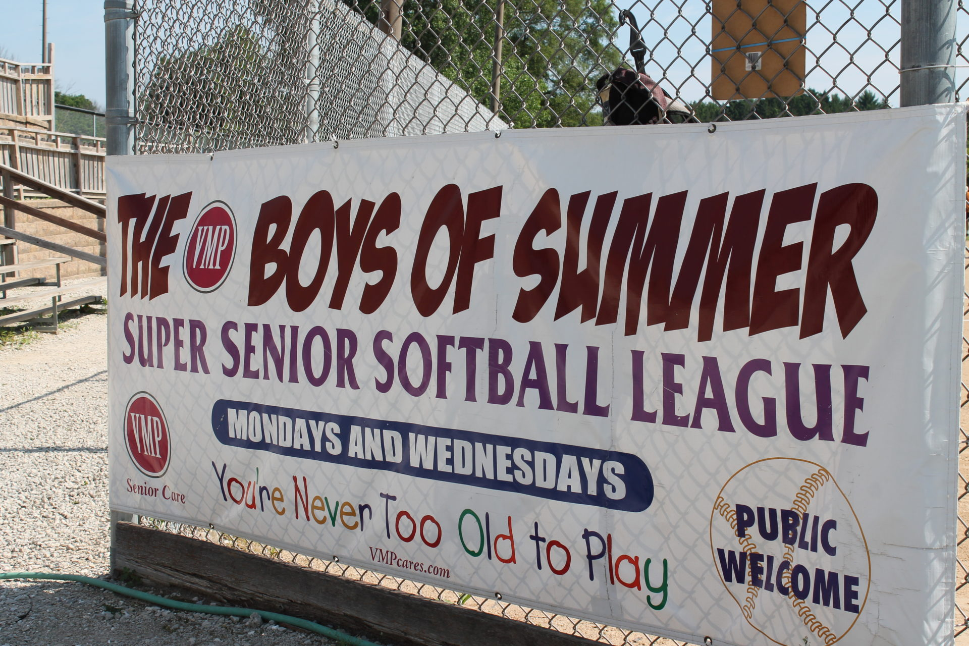 The VMP boys of summer senior softball league banner.