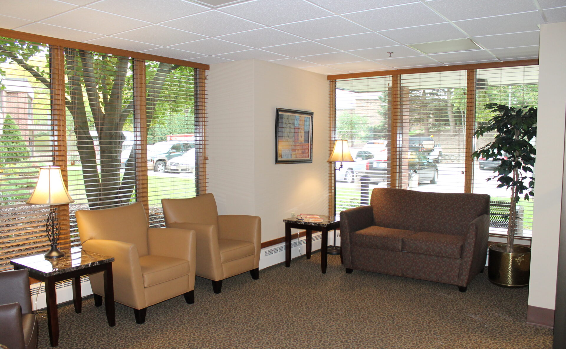 A couch and two chairs at VMP Milwaukee's skilled nursing facility.