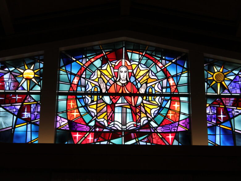 Image of VMP Healthcare & Community Living stained glass. Located in our Chapel.